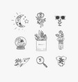 hand made floral icons nature vector image vector image