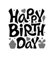 happy birthday sign black and white logo vector image vector image
