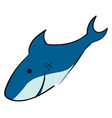 happy blue shark on white background vector image vector image