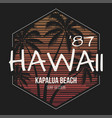 hawaii kapalua beach tee print with palm trees vector image vector image