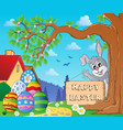 image with easter bunny and sign 9 vector image vector image