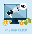 Internet marketing pay per click concept computer vector image vector image