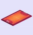 isometric field for handball orange outline vector image vector image