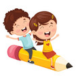 kids flying with pencil vector image vector image
