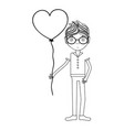 line man with mustache and heart balloon in the vector image vector image
