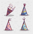 line set hat happy birthday celebration icon vector image vector image