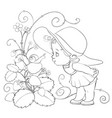 little girl in a big hat leaned over a big vector image vector image