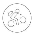 Man riding bike line icon vector image vector image