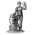 man standing next to an oak barrel vector image vector image