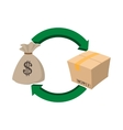 Money bag and box icon cartoon style vector image vector image