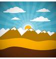 Nature Retro Mountains with Clouds Sun Blue Sky vector image vector image
