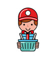 online shopping basket logistic gift worker vector image vector image