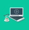 online video webinar watching on mobile phone vector image