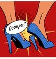 oops broke heel woman nasty surprise pop art vector image vector image