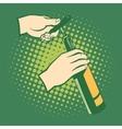 opener bottles hand holds corkscrew vector image vector image