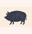 pork pig vintage retro print silhouette pig