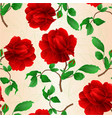 seamless texture rose flower red twig with leaves vector image vector image