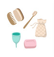 set ecological personal hygiene items - wooden vector image vector image