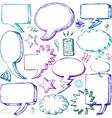 set hand drawn comical speech bubbles vector image vector image