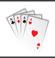 set of aces ace of spades herts clubs and vector image vector image
