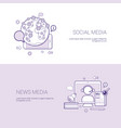 set of social and news media banners business vector image
