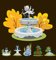 set outdoors fountain for gardening spring and vector image