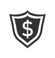 shield with money in flat style with dollar on vector image vector image