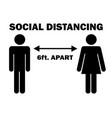 social distancing 6 ft apart man woman stick vector image vector image