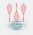 squash tournament stencil spray style poster vector image