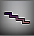 stair down sign violet gradient icon with vector image vector image