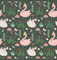 swans cute seamless pattern modern princess swan vector image vector image