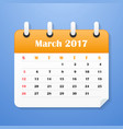 usa calendar march for 2017 vector image vector image