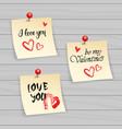 valentine day stickers set typography note with vector image
