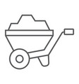 wheelbarrow thin line icon tool and cart vector image vector image