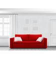 White interior and red sofa vector image vector image