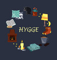 with hygge cozy home things vector image vector image