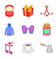 christmas day icons set cartoon style vector image