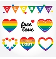 Lgbt support fight for gay rights hearts graphic vector image