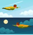 flying boy superhero horizontal banners vector image