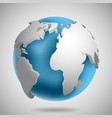 3d earth globe icon with shadow vector image vector image