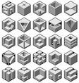 abstract 3d cube objects vector image vector image