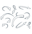 arrows set drawing style vector image vector image