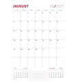 August 2017 Print Template Monthly vector image vector image