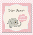 baby girl shower card with little elephant vector image vector image