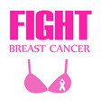 breast cancer awareness ribbon on a pink bra vector image