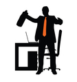 businessman in office silhouette vector image vector image