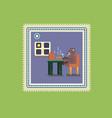 cartoon brown bear eating soup at kitchen vector image vector image