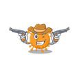 cartoon character cowboy anaplasma with guns vector image vector image