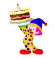 cartoon clown with cake vector image vector image