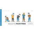 characters feeling pain landing page template vector image vector image
